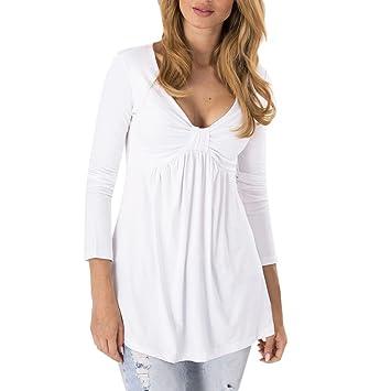 Niña otoño fashion,Sonnena ❤ Blusa con cuello en V sexy con pliegues de