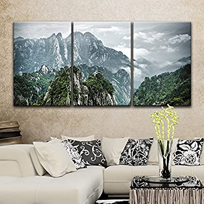 3 Panel Mountains Landscape with Green Trees x 3 Panels