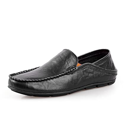 HJKL Mocasines Casuales del penique del Cuero Genuino de los Hombres con Backless Ajustable (Color