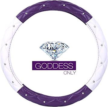 QUEEN ONLY Ladies Car Steering Wheel Cover with Diamond Lattice Girly Classy Fashion Collection Car Steering Wheel Cover with Crown and Diamonds Pink /& White