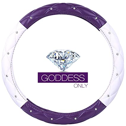 Ladies Car Steering Wheel Cover with Diamond Lattice Girly Classy Fashion Collection Car Steering Wheel Cover with Crown and Diamonds (Queen ONLY) (B ...