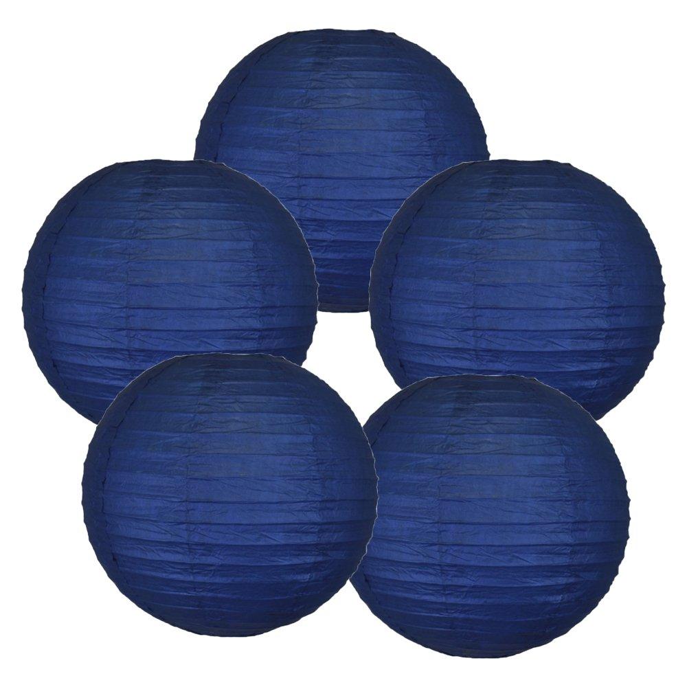 Just Artifacts ペーパーランタン5点セット - (6インチ - 24インチ) 8inch AMZ-RPL5-080021 B01CEX5B0Y 8inch|ネイビーブルー ネイビーブルー 8inch