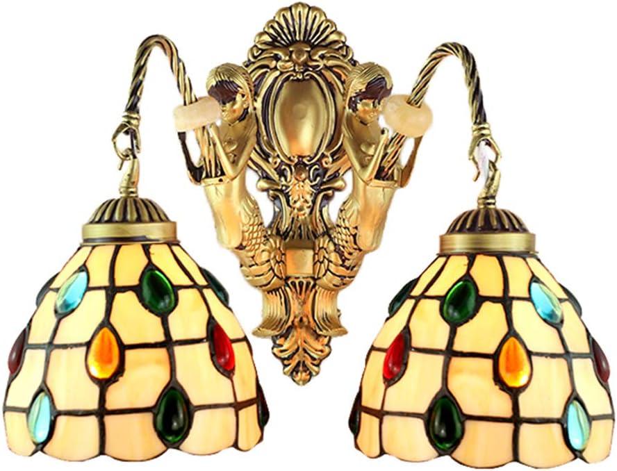 Lámpara de Pared de Mosaico clásico Europeo Tiffany Lámpara de Pared Retro Tradicional turca Otomana Piedra Preciosa Cristal Pintado Bronce Sirena Hierro Forjado 2 Cabeza E27