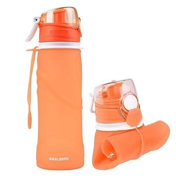 Idealeben Botella de Agua de Silicona - 750ml botella de deportes de agua plegable portátil con dispositivo antigoteo Ideal para campamentos/viajes/picnic ...