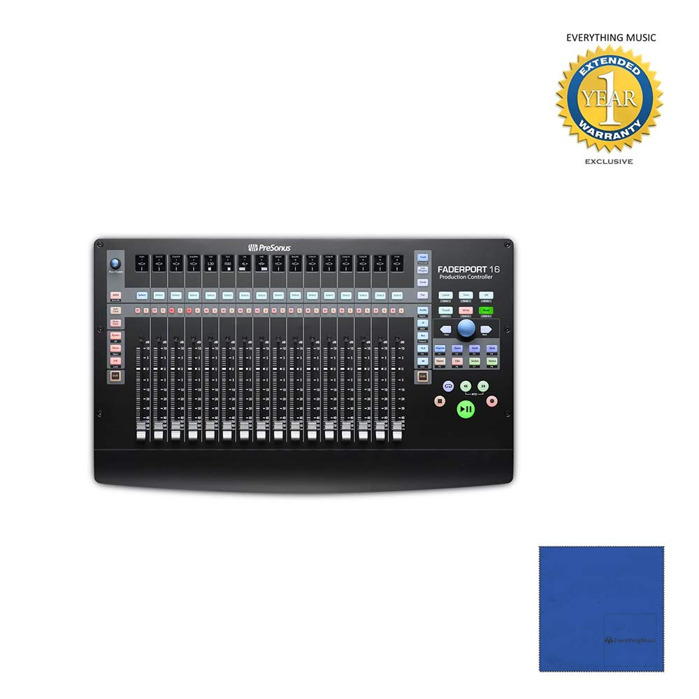 Presonus FaderPort 16 16-channel Mix Production Controller with Microfiber and 1 Year Everything Music Extended Warranty by COR