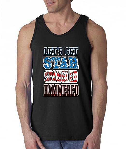 6b572d191f6311 Lets Get Star Spangled Hammered Men s Tank Top Funny USA Flag Theme Tank  Tops Small Black