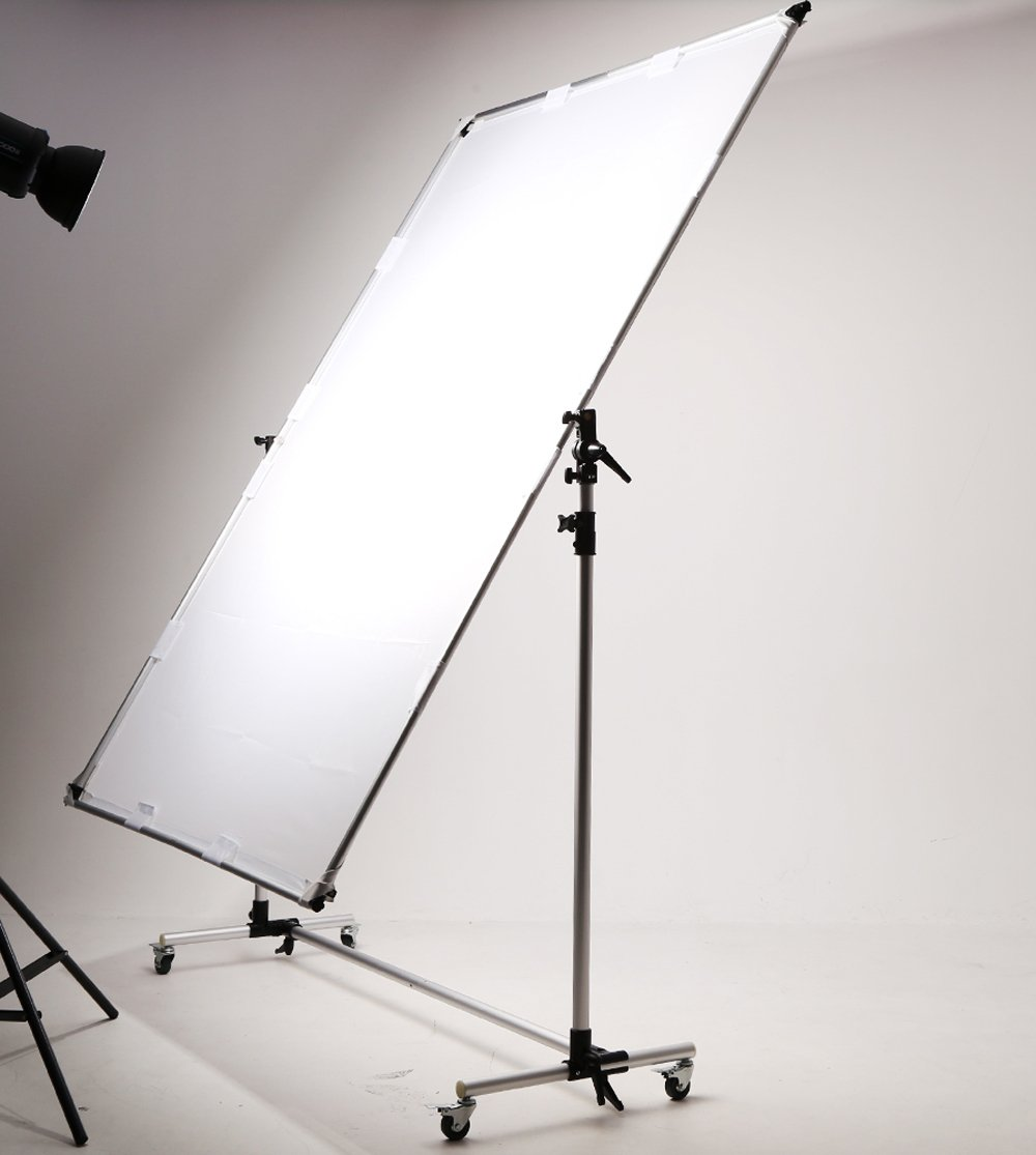 Falcon Eyes Pro Studio Solutions 150cm x 200cm (59in x 78.7in) Sun Scrim - Collapsible Frame Diffusion & Silver/Black Reflector Kit with Pulley can be moved Handle by OPENCLOUD (Image #2)