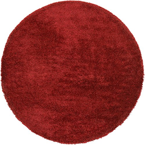 - Unique Loom Luxe Solo Collection Plush Modern Red Round Rug (8' 0 x 8' 0)