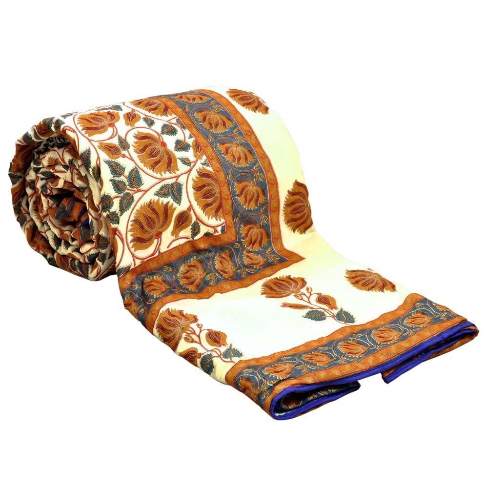 Little India Jaipuri Style Golden Print Double Bed AC Comforter 301