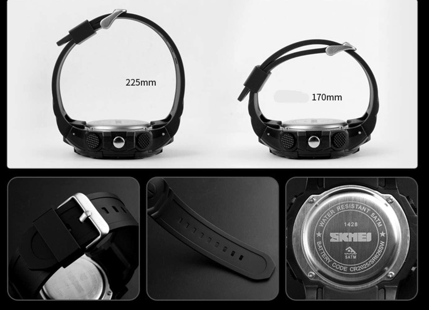 Shengjuanfeng Montre électronique Multifonctions de Mode Montre Grand Cadran imperméable Sport Hommes Montres (Couleur : Bleu) Noir