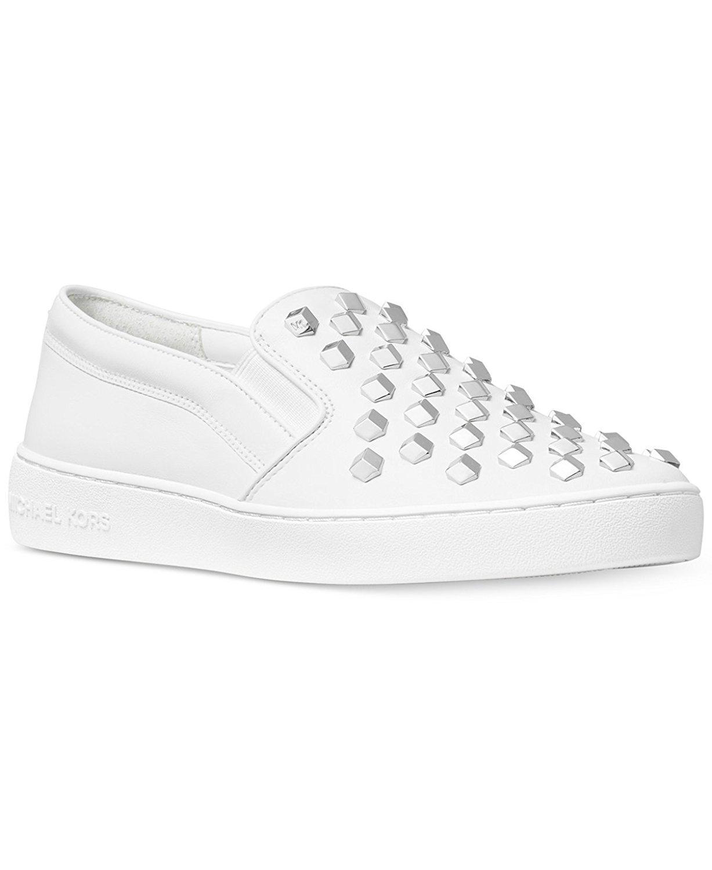 Michael Kors Womens Keaton Slip on Leather Leather Low Top Slip, White, Size 6.0