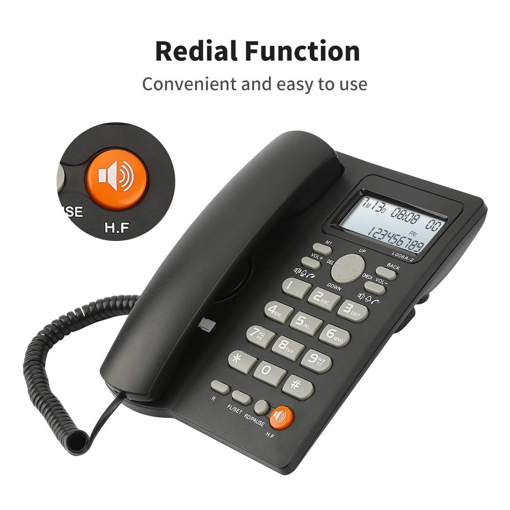 Desktop Corded Telephone with Caller ID Display, DTMF/FSK Dual System, Wired Landline Phone for Home/Hotel/Office, Adjustable Volume, Real Time Date&Week Display, Adjustable LCD Brightness by Uvital