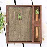 Wood Hardcover Cute Notebook with Beauty Pen Elephant Cool Writing Journal Blank Pages 7.3'' x 5.2''