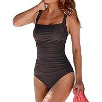 Leslady Banadores Mujer Reductores Mujer Color sólido Traje de baño Bandeau Monokini Body Shaping Correa de Hombro…