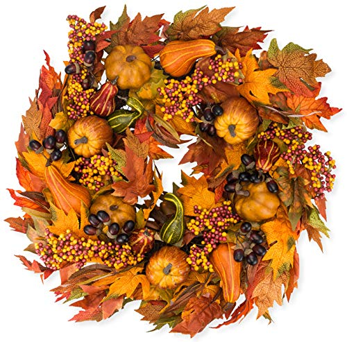 Montgomery Hollow Silk Fall Door Wreath 26 inch - Large Autumn Door Wreath for Outdoor Display, White Storage Gift Box (Fall Door Wreaths)