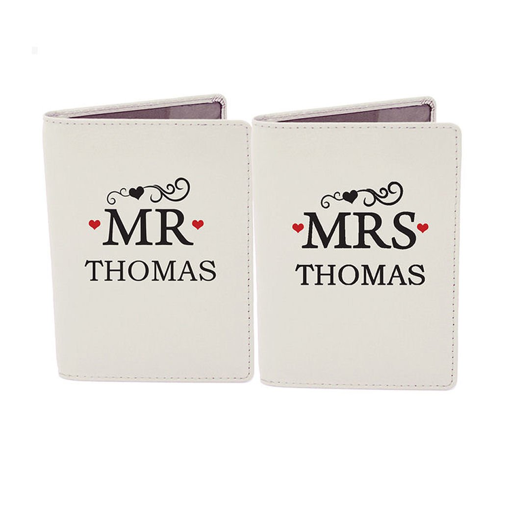 e1a9e110c4a0 Personalised Mr & Mrs Cream Passport Holders by Gregory Crafts ...