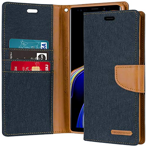 Galaxy Note 9 Case [Drop Protection] Goospery Canvas Diary [Denim Material] Wallet Case [Card Slots] Stand Flip Cover [Magnetic Closure] for Samsung Galaxy Note9 (Navy) NT9-CAN-NVY