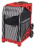 Zuca ZuZuca Rolling Pet Carrier - Houndstooth Black Insert Bag, Choose Your Frame Color (Red Frame & Flashing Wheels)