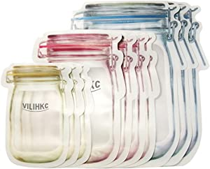 Vilihkc Reusable Storage Bags Mason bottle shape- 10 Pack Airtight Freezer Bags BPA FREE Ziplock Lunch Bag for Food Travel Storage Home Organization