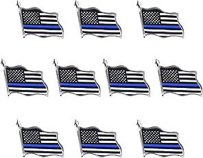 Rantanto Thin Blue Line American Flag Lapel Pin Jewlery United States  Waving Flag Pins