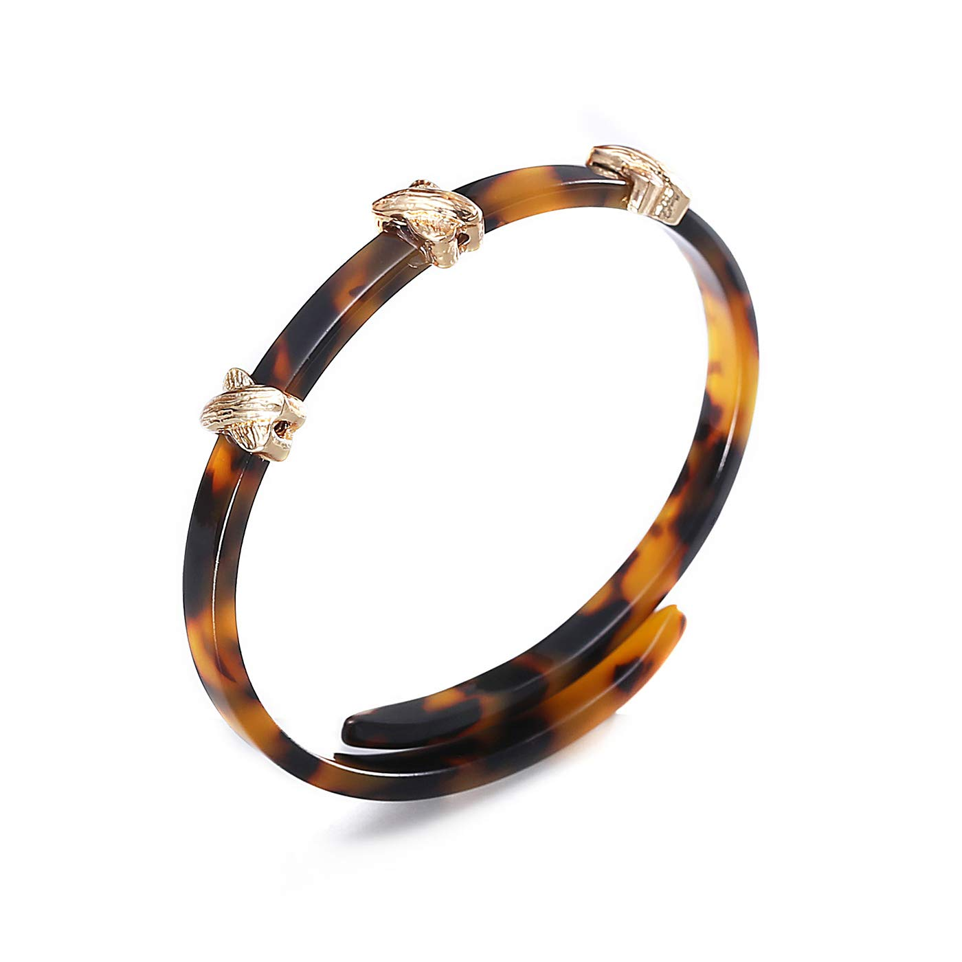 FAMARINE Acrylic Bangle Bracelet, Tortoise Shell Flexible Adjustable Bracelet with Gold Charm HHB-001