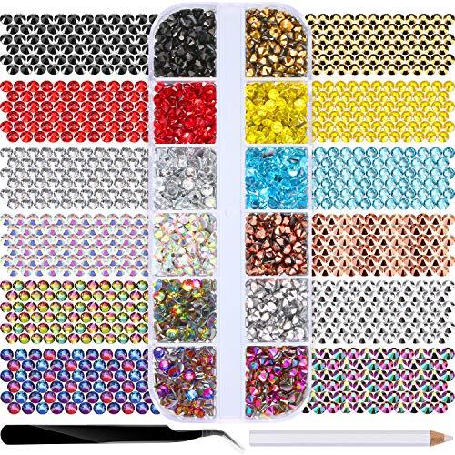Jovitec 1680 Pieces Hot Fix Glass Flatback Rhinestones HotFix Round Crystal Gems 4 MM in Storage Box with Tweezers and Picking Rhinestones Pen (12 Colors)