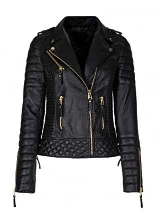 c4251eb6a Hollywood Jacket Women Diamond Quilted Kay Michael Leather Biker ...