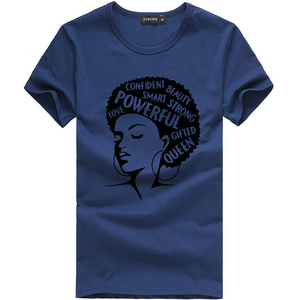 Keliay Cute Womens Tops Summer,Women Casual Letter Printed Cotton Short Sleeve Inspiring Word T-Shirt Tops Tees Blue by Keliay (Image #2)
