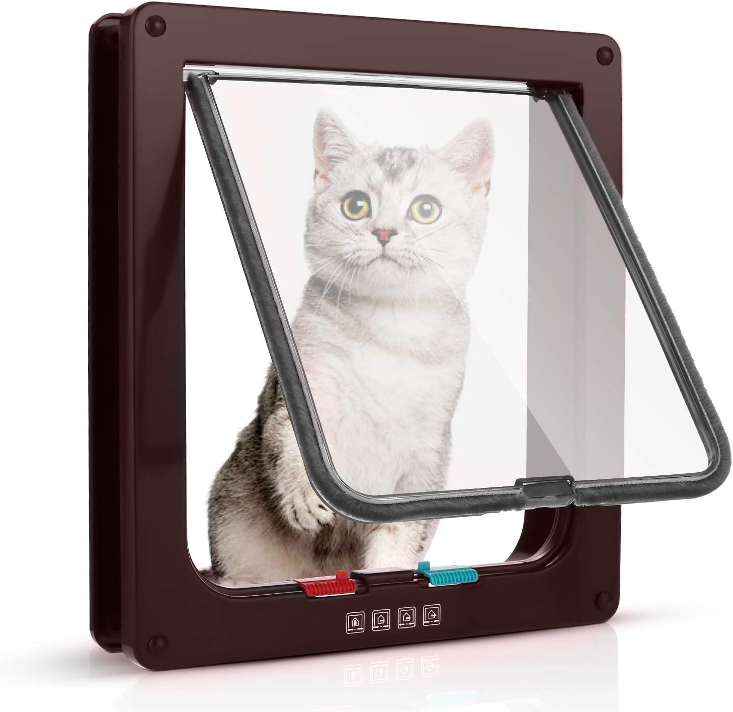 Sailnovo Puerta para Gato con Cierre magnético de 4 vías, Puerta para Mascotas para Gatos y Perros pequeños, Puerta para Gatos con túnel L, Marrón 18 x 19 x 5.5 cm