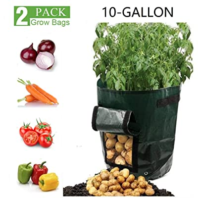 【2 Pack】Potatoes Grow Bags,10 Gallon Heavy Duty Thickened PE Garden Growing Bags Vegetable Planter Planting Garden Pots with Handles and Access Flap for Planting Potato Carrot Onion Taro Radish Peanut: Beauty