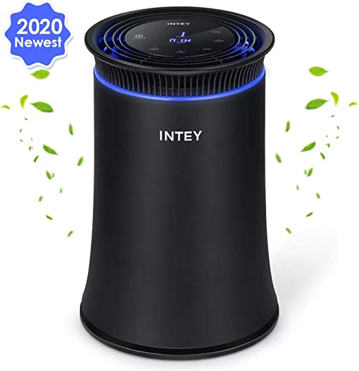 INTEY Purificador de aire para casa, oficina, auténtico HEPA, 3 etapas de filtración, 5 opciones de velocidad, filtro de carbón, temporizador, luz azul, elimina el polvo, PM2.5, formaldehído, olores: Amazon.es: Hogar