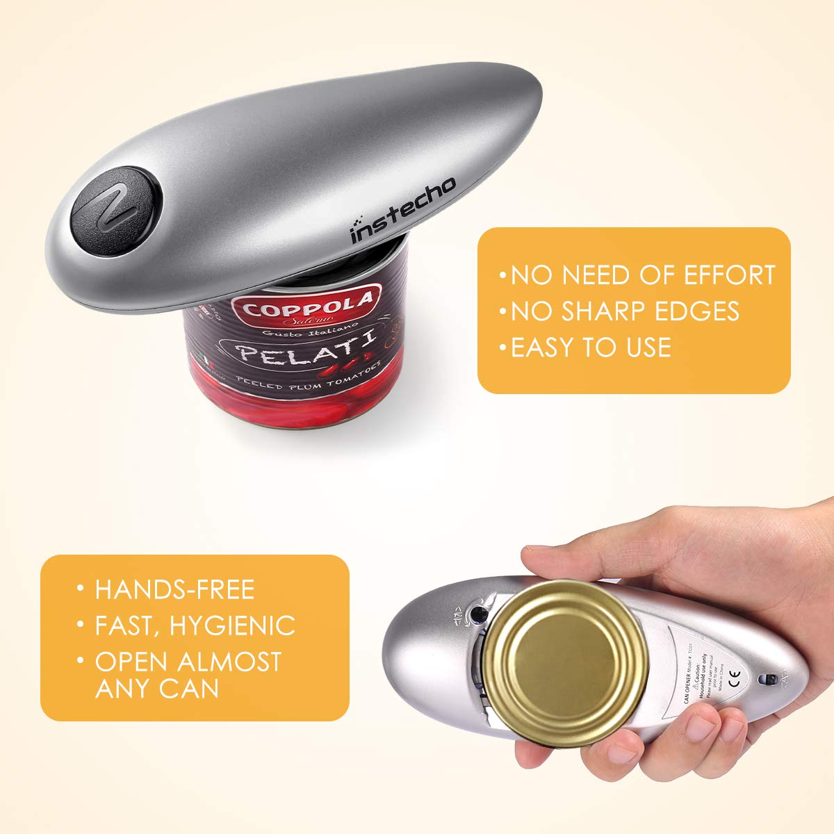 Electric Can Opener, Smooth Edge Automatic Can Opener for Any Size, Best Kitchen Gadget for Arthritis and Seniors (GrayClassic1) by instecho (Image #4)