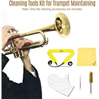 Ktoyols Trumpet Cleaning Tools Kit with Through Cloth Cleaning Cloth Brush Gloves
