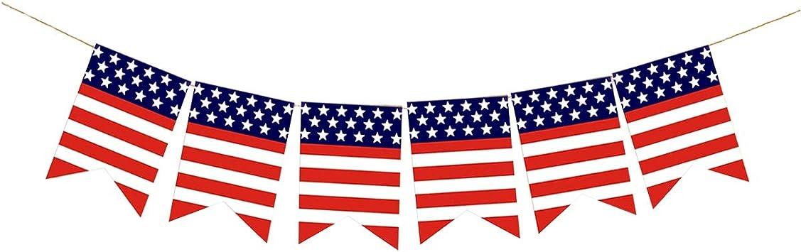 Amosfun Bandera de arpillera Bandera Estadounidense Bandera de Estrellas Blancas Rojas Blancas Día de la Independencia de Estados Unidos Decoraciones Bandera Guirnalda: Amazon.es: Juguetes y juegos