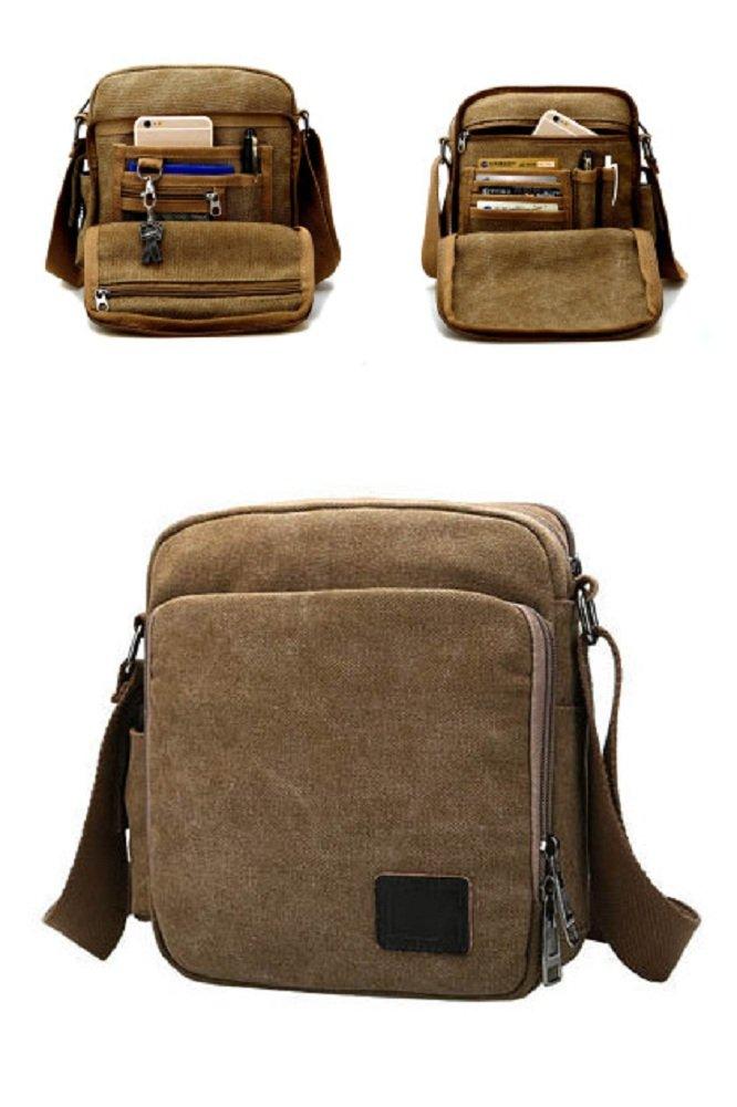Urmiss Canvas Small Messenger Bag Casual Shoulder Bag Travel Organizer Bag Multi-Pocket Purse Handbag Crossbody Bags
