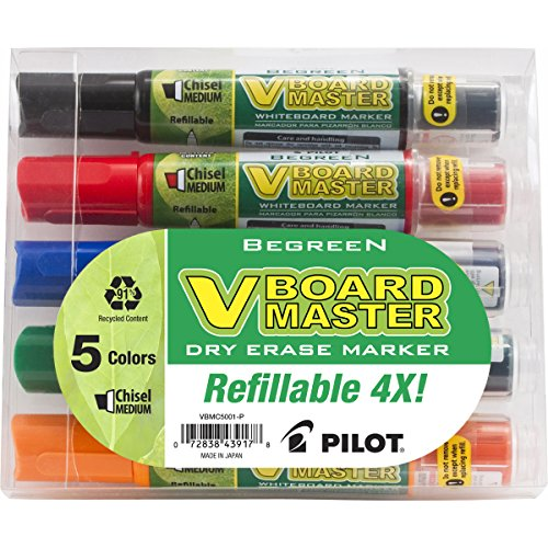 Pilot V Board Master Dry Erase Marker, Medium Chisel Point, Assorted, 5-Pack Pouch (43917)