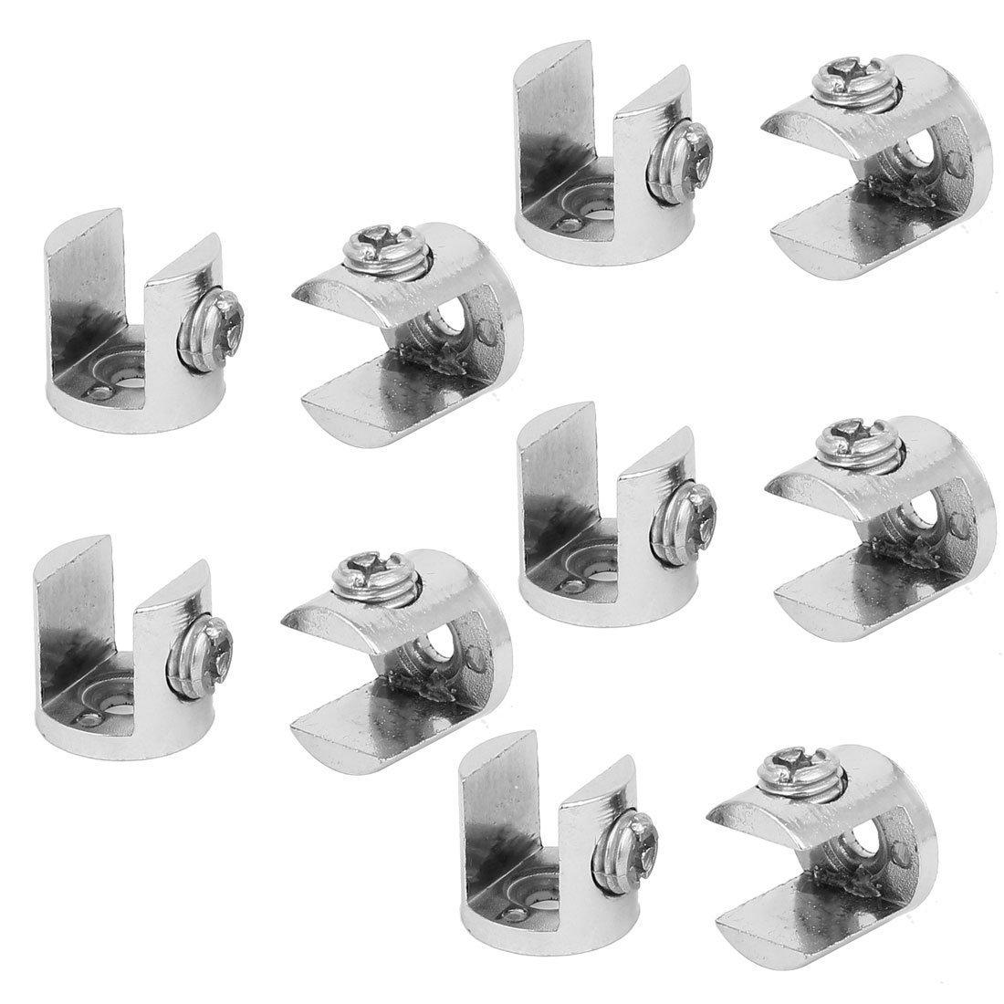 sourcingmap® Tablette réglable en alliage de zinc Colliers Clips crochets 10pcs pour 9mm-12mm verre épais sourcing map a16120100ux0490