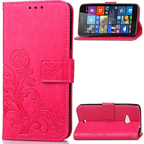 Microsoft Lumia 535 Case, Love Sound [Lucky Four Leaf Clover/Rose] [Wrist Strap] [Stand Function] Luxury PU Leather Wallet Case Flip Cover Built-in Card Slots for Microsoft Nokia Lumia 535 - Nokia Lumia 535 Case