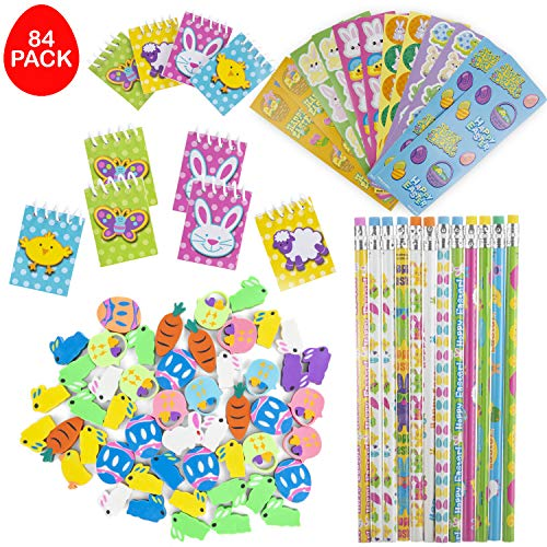 FAVONIRTM Easter Toys Party Favor Stationary Assortment 84 Gift Pack - 12 Pencils - 12 Eraser Assortment - 12 Mini Easter Spiral Notepads - 12 Sheets Assorted Stickers - Ideal As Party Favor Fillers, Reward Prizes, Carnival And Events.