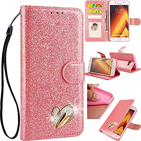 3D Love Hearts Bling Glitter Glitzer Diamond Musterg Ledertasche Slim Retro Bookstyle mit Standfunktion Karteneinschub Magnetverschluss Flip Wallet Hülle Schutzhülle für Huawei Mate 20 Pro