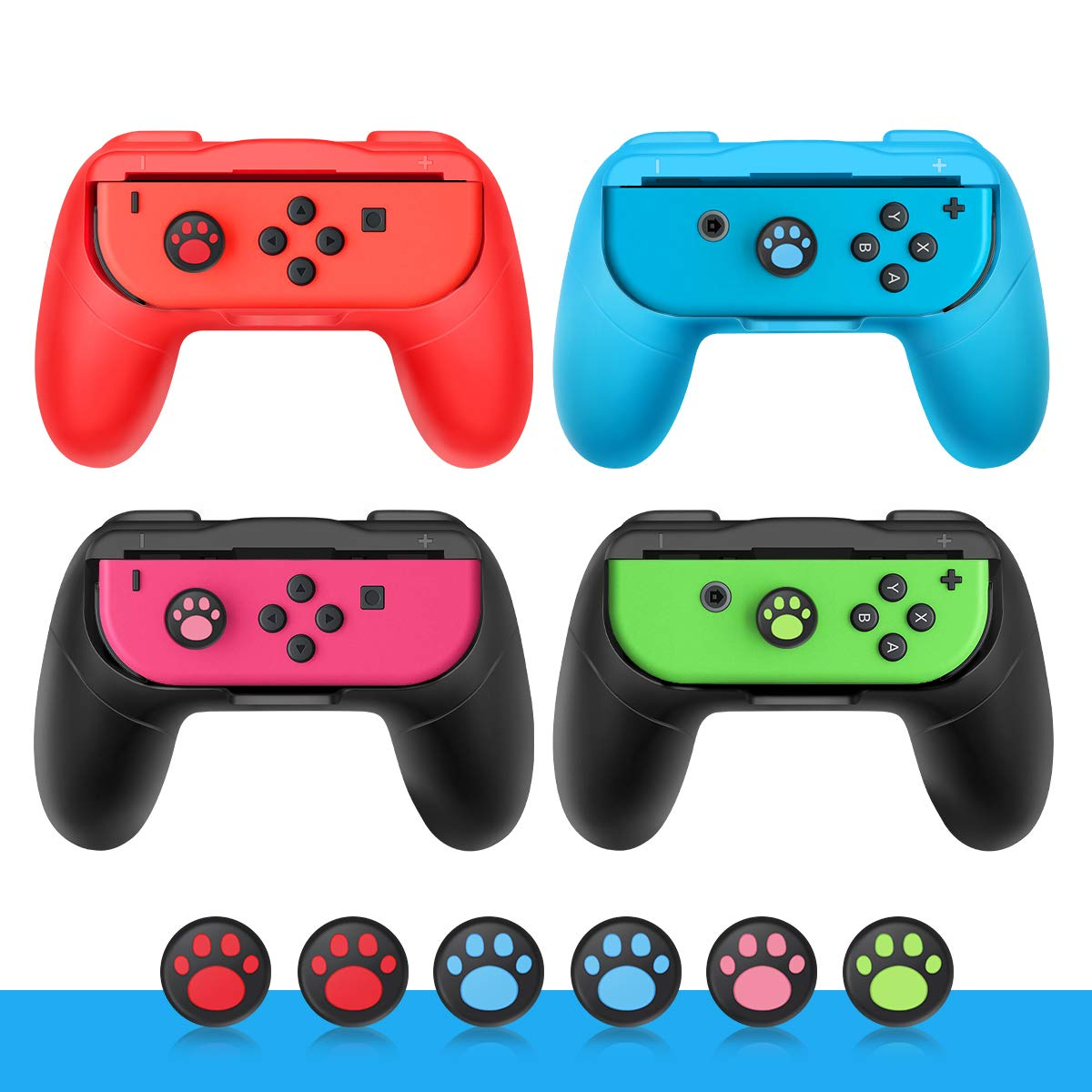 Joy Con Grip for Nintendo Switch Joy-Con 4-Pack/Wear-Resistant Smooth Surface Handle Kits with 6PCS Cat Paw Silicone Thumb Joystick Caps Cover by Abaven