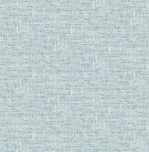 NuWallpaper NU2919 Aqua Poplin Texture Peel & Stick Wallpaper,