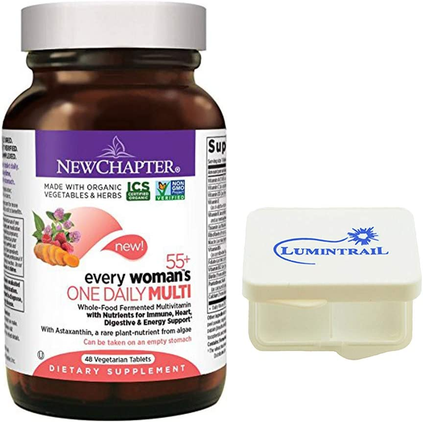 New Chapter Every Woman's One Daily 55+ Multivitamin with Probiotics, Vitamin D3, B Vitamins, Non-GMO - 48 Tablets Bundle with a Lumintrail Pill Case