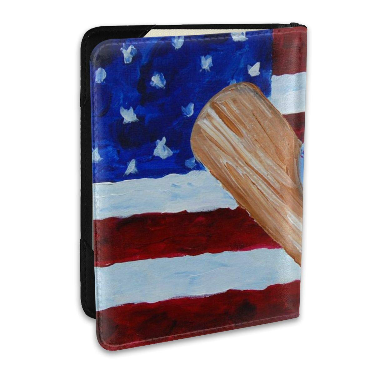 American Flag Baseball Painting Fashion Leather Passport Holder Cover Case Travel Wallet 6.5 In