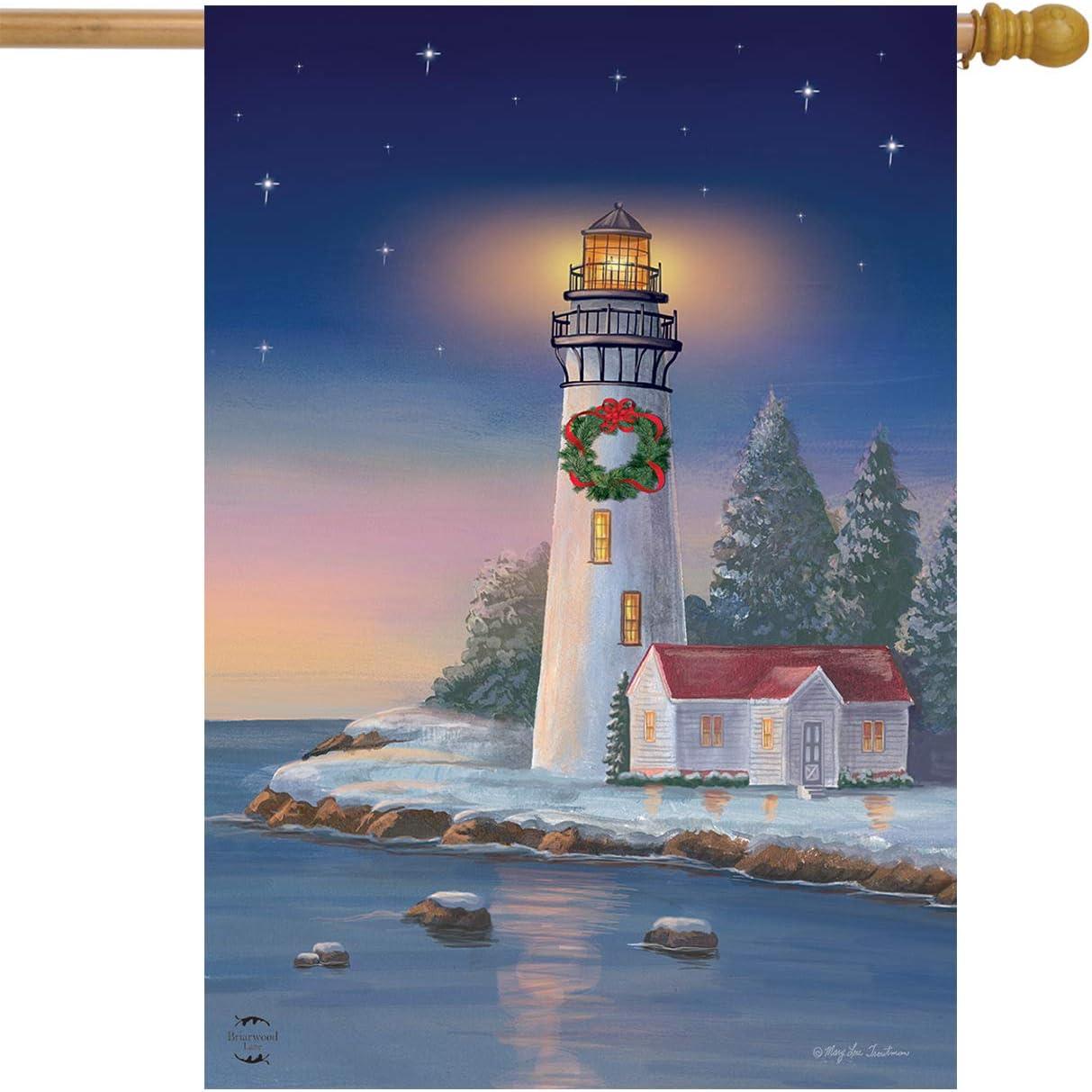 "Briarwood Lane Christmas Lighthouse Nautical House Flag Wreath 28"" x 40"""
