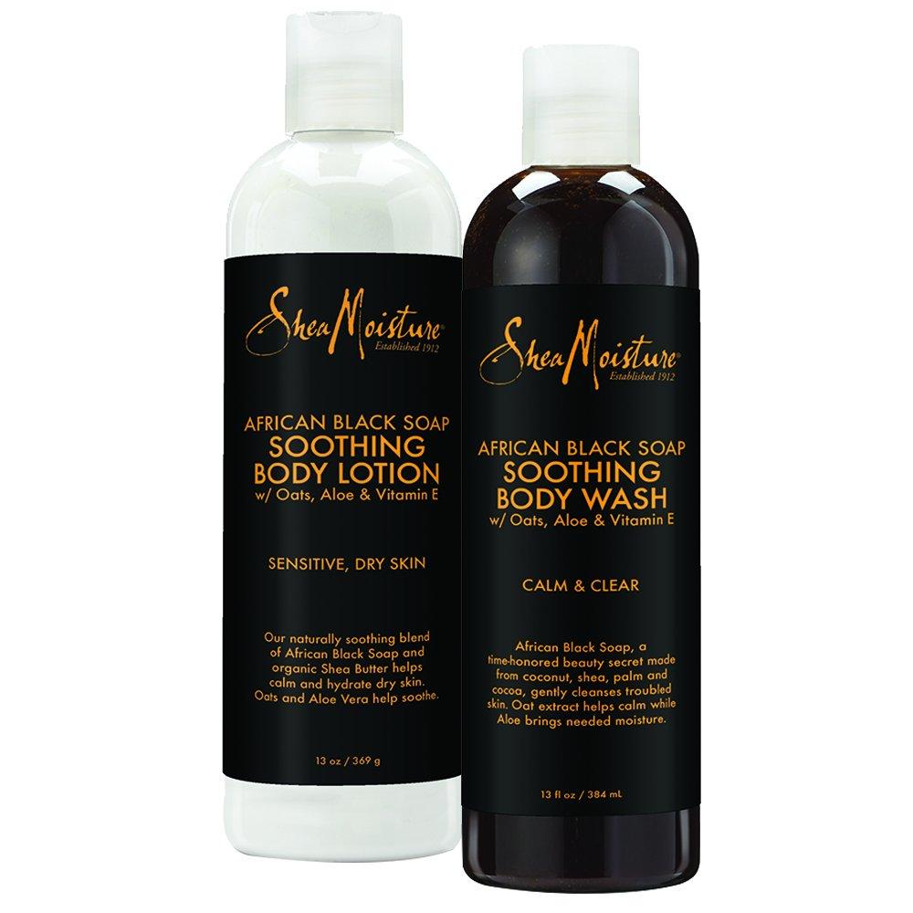 SheaMoisture African Black Soap Bath & Body Pack   Body Wash   Body Lotion   13 fl. oz. Each
