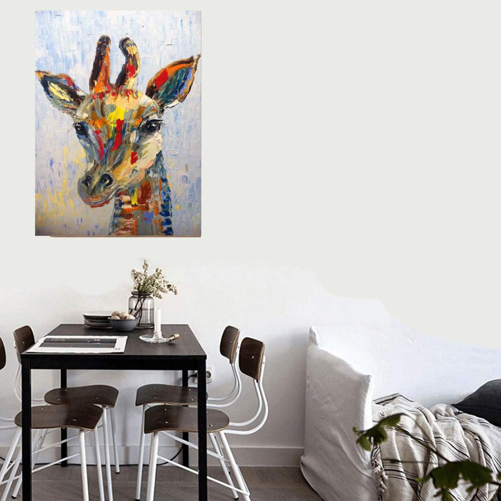 Modern Living Room Pure Hand-Painted Animal Canvas Painting Home Children's Bedroom Decoration Painting Painted Wall Painting Two Giraffes 40×50cm