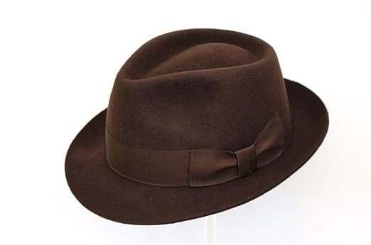 Men s Dark Brown Wool Trilby Fedora Hat  Amazon.co.uk  Clothing 8f231e4b17c
