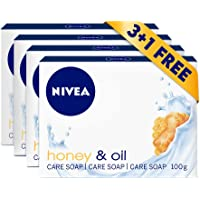 NIVEA Honey & Oil Soap Bar, Jojoba Oil and Honey Extract, Delicate Scent, 3+1 FREE, 4x100g