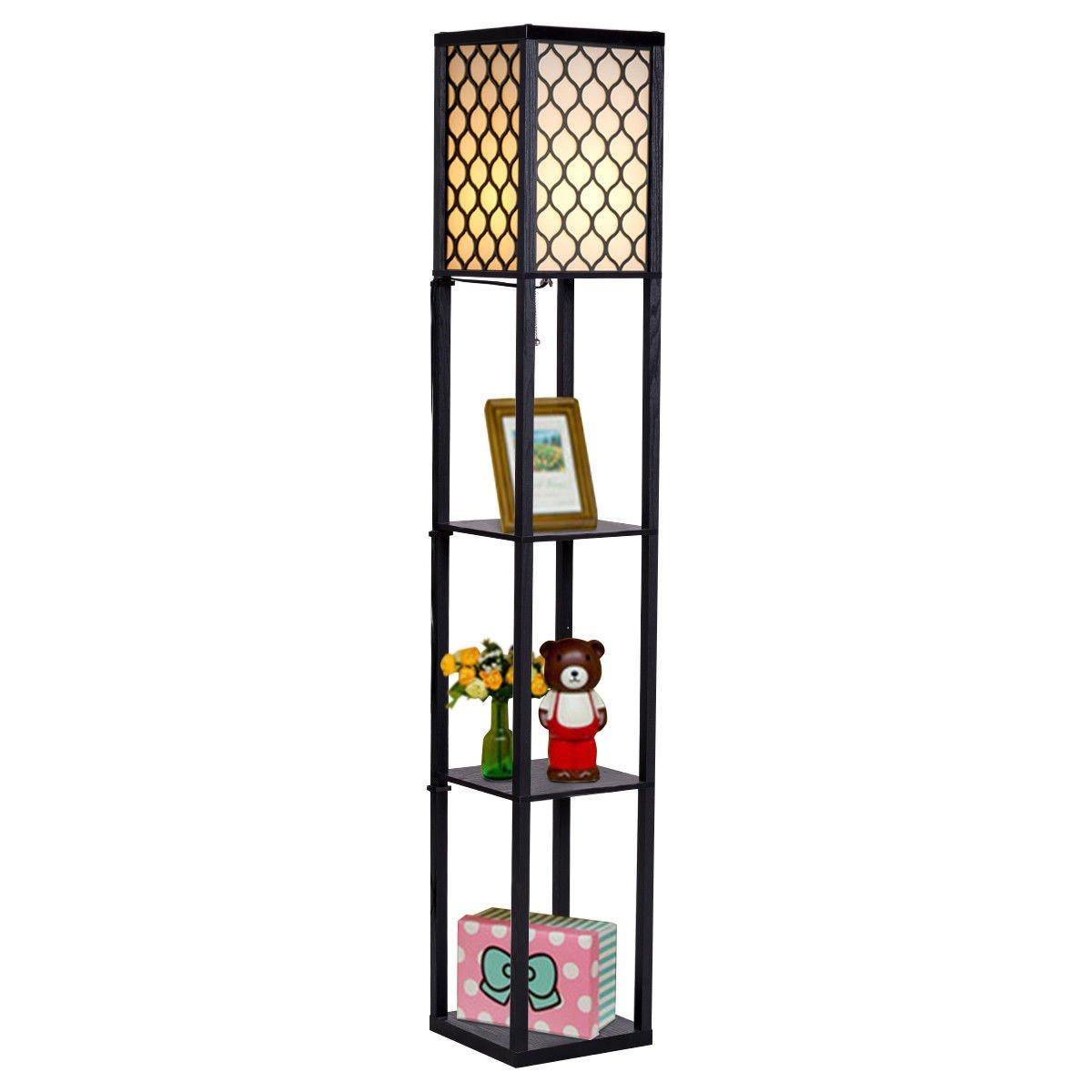 Safstar Modern Shelf Floor Lamp with Shade, 63 Inch Height, 3 Storage Rack Shelves